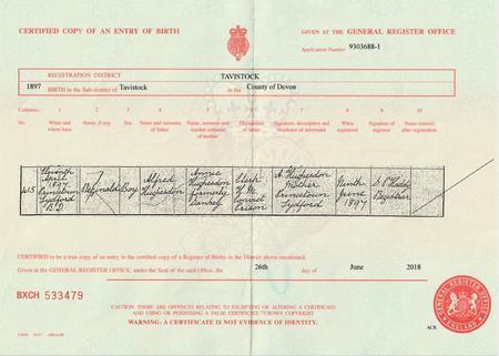 Birth certificate 1897