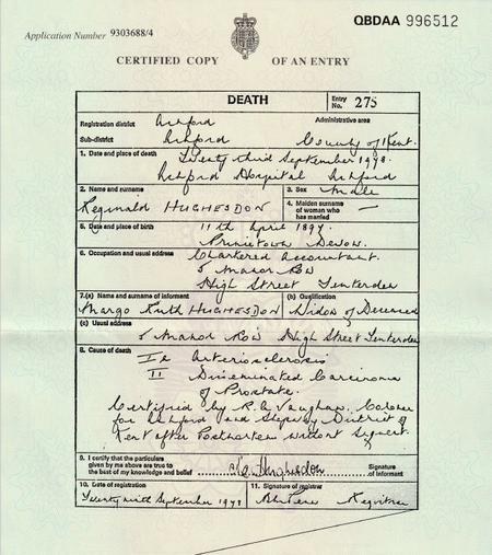 Death Certificate 1978