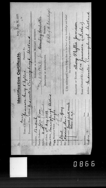 Identity card for Mary Jamieson