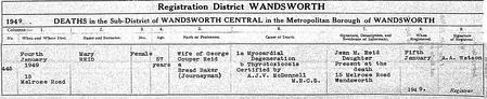 Mary Reid nee Jamieson's death certificate