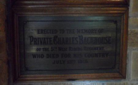 Plaque commemorating Charles Backhouse.