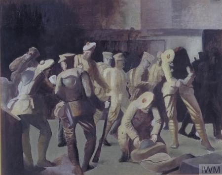 Sketch of soldiers arriving on leave