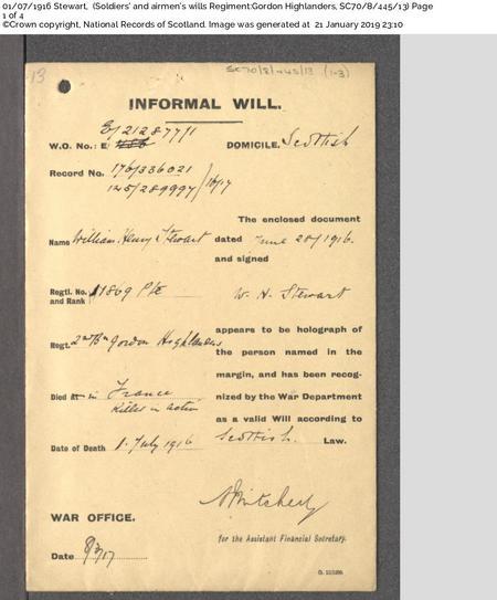 William Henry Stewart - Will page 1