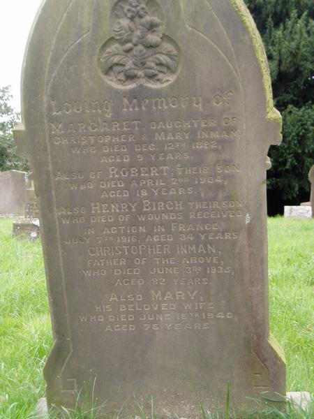 Memorial Inscription Henry Birch