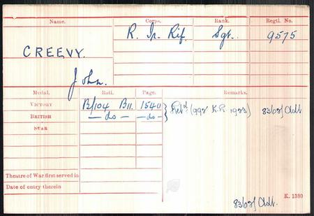 Medal Index Card for John Creevy 9575