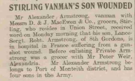 Stirling Vanman's Son Wounded (25-Dec-1915)