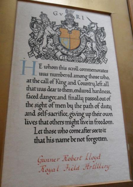Robert Lloyd - memorial scroll.
