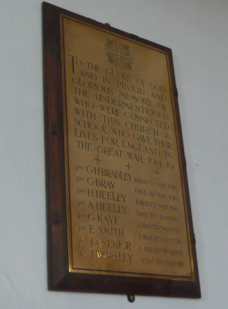 WW1 Memorial of St Andrew's Church, Thongsbridge