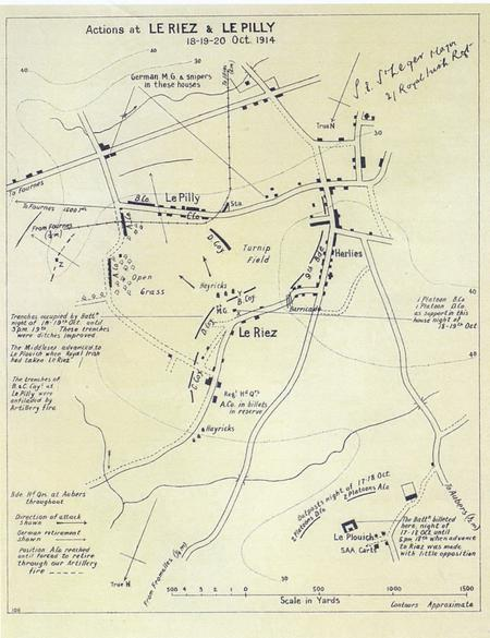 Map of the actions at Le Riez and Le Pilly