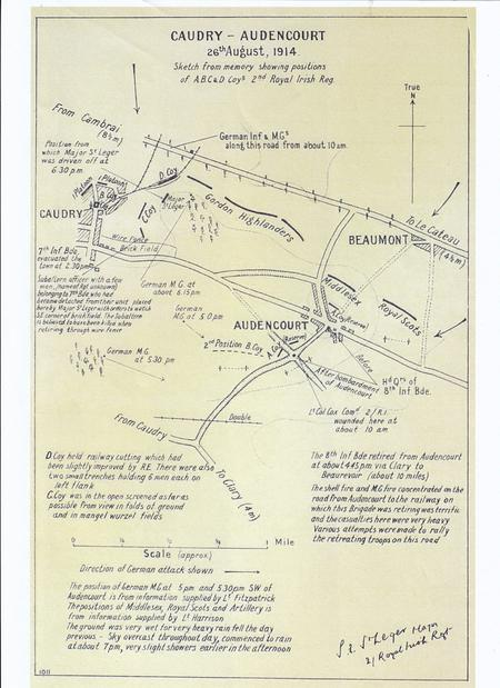 Map of the actions at Caudry/Audencourt