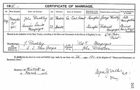 Marriage Certificate for John Buckley