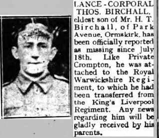 Report of L/Cpl Birchall missing in action