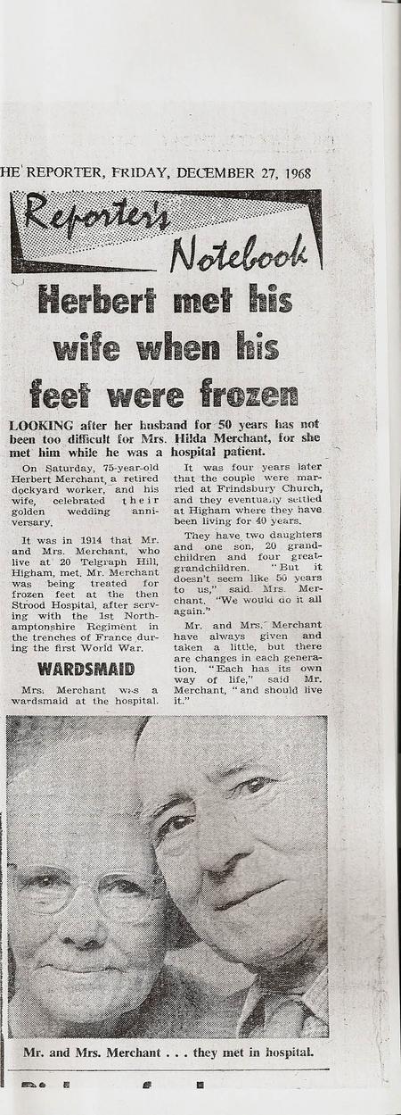 Golden wedding anniversary Newspaper article