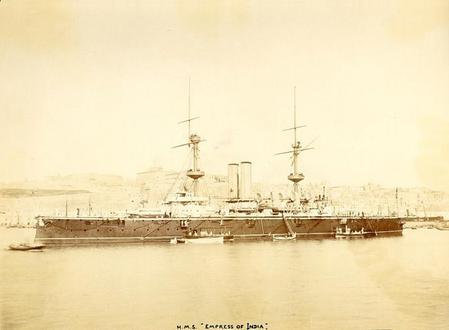 HMS Empress of India at Malta in 1897