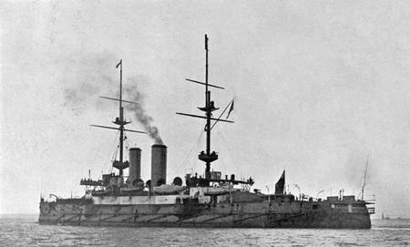 HMS Formidable undergoing trials in 1901.