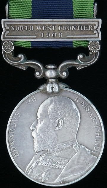 """India General Service Medal with clasp """"1908"""""""
