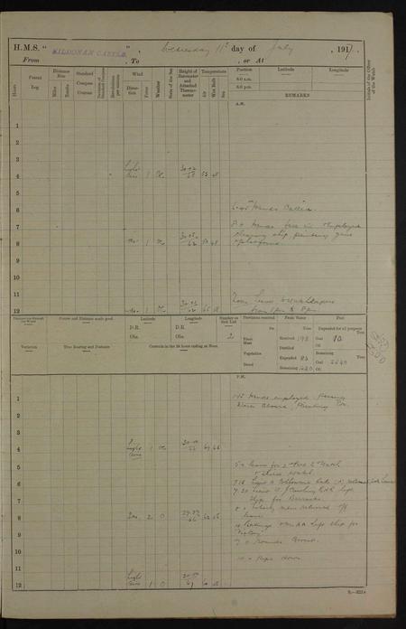 HMS Kildonan Castle Ship's Log