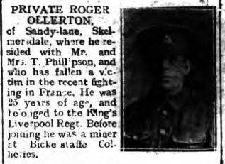 Report of Private Ollerton's death