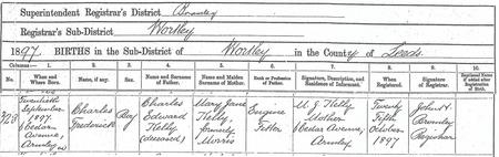 Birth certificate for Charles Kelly