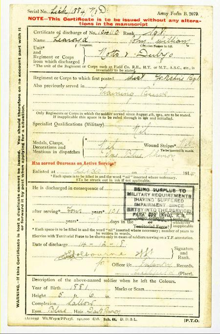 discharge certificate for J W Learoyd