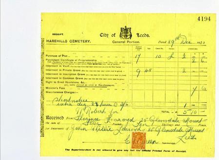 Receipt for burial of J W Learoyd