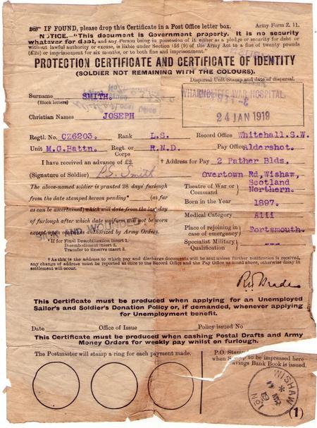 Joseph Smith war Hospital record Wharncliffe 1919