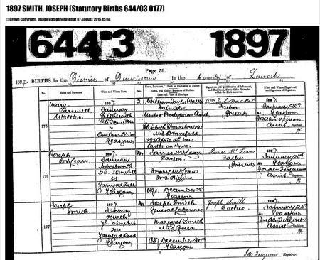 Joseph Smith Birth record 1897
