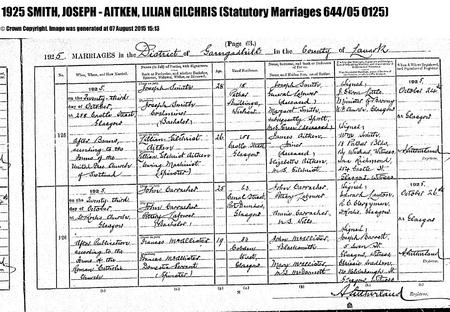 Joseph Smith marriage record 1925