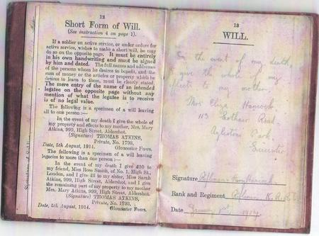 Army Pay Book - Will