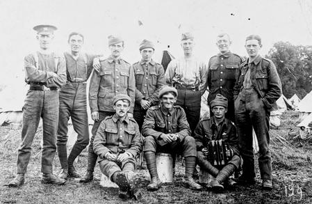 James (far right) and friends in Salonika