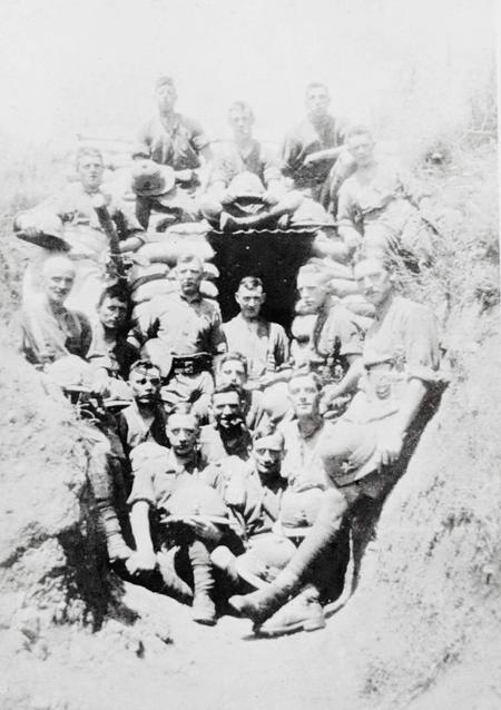 James and others in a trench
