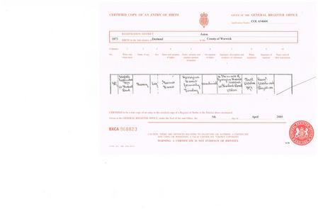 Harry Harris, Birth Certificate, 1873