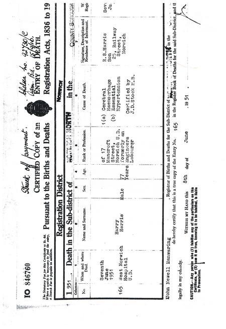 Harry Harris, Death Certificate, 1951
