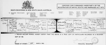 Death certificate for Walter William James
