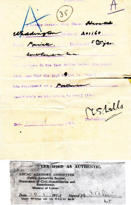 Verification of Post Office employment before war