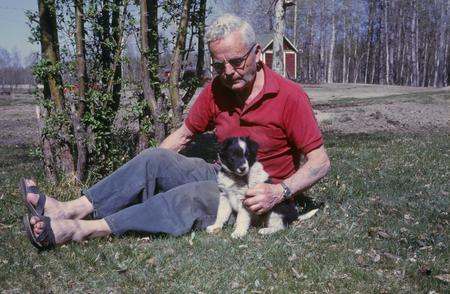 Barry Galbraith & dog at Wilsona Farm