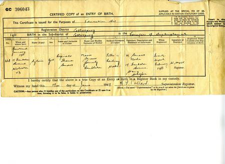 Daughters Birth Certificate