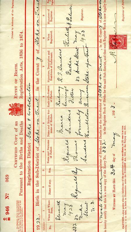 Sons Birth Certificate