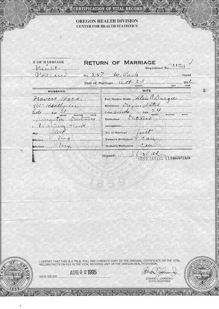 Travers Hora marriage certificate