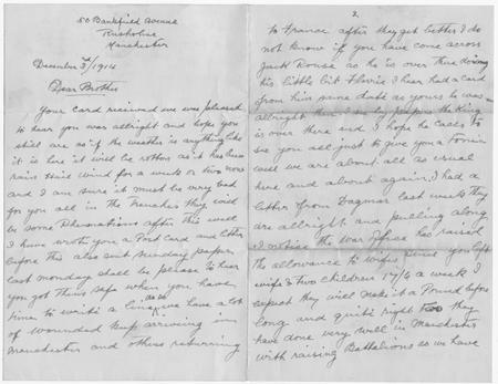 Mentioned in letter to Walter Bagshaw [page 1 & 2]