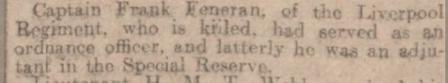 Report of Captain Feneran's death