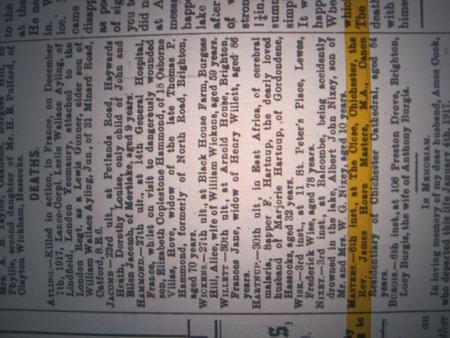 Newspaper report of death