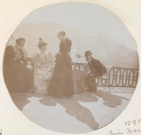 Photograph of Sarah with a group, dated 1895