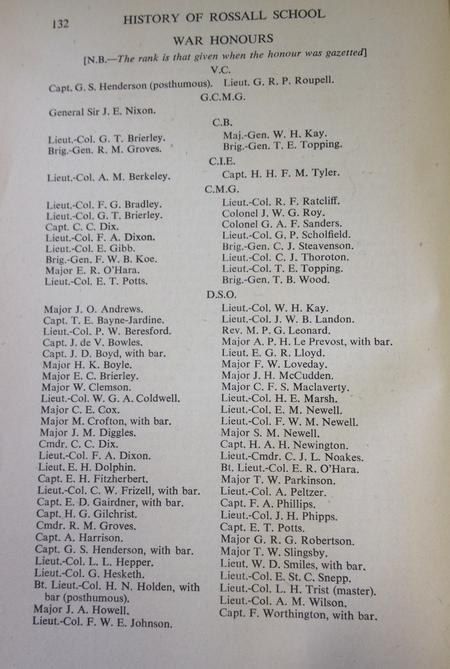 War Honours