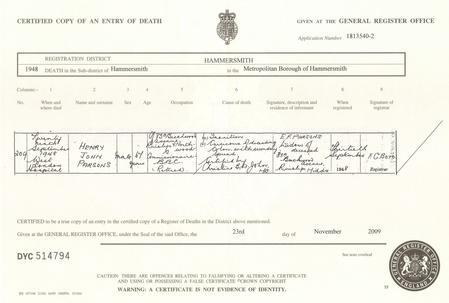 Death certificate of Henry John Parsons