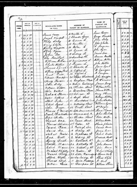 School admission record 1891
