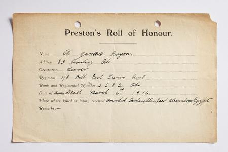Preston Roll of Honour form for Private Anyon