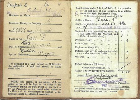 Abstract of Percy Vass Soldiers Paybook