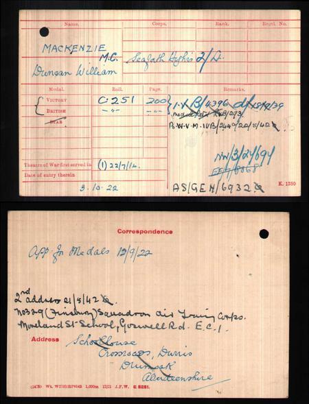 Medal Rolls Index Card