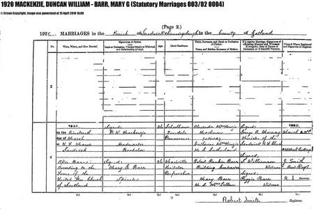 Marriage 19 March 1920